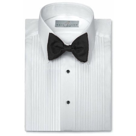 White Laydown Tuxedo Shirt - Neil Allyn Mens Tuxedo Shirt Poly/Cotton Laydown Collar 1/4