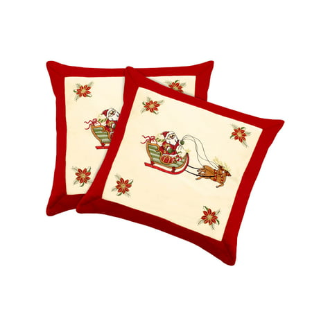 Santa Claus Embroidered 2-Piece 18x18 Pillow Cover Set
