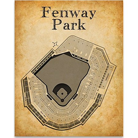 Fenway Park Baseball Stadium Seating Chart Art Print - 11x14 Unframed Art Print - Great Sports Bar Decor and Gift for Baseball Fans