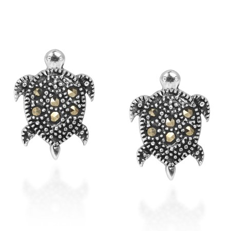 - Captivating Sea Turtle Marcasite Sterling Silver Stud Earrings