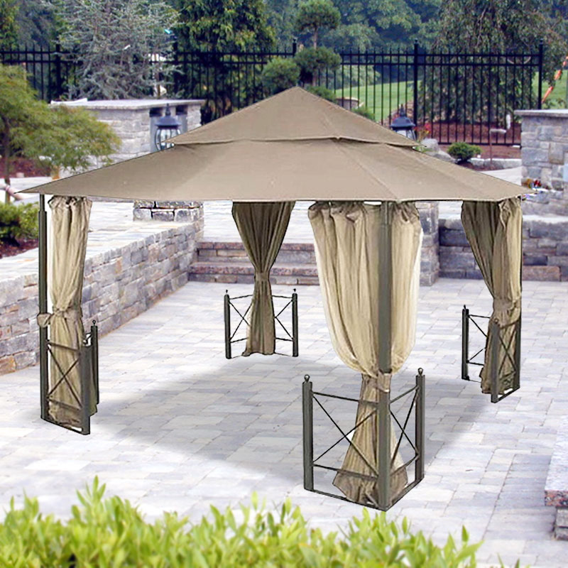 Garden Winds Riplock Fabric Replacement Canopy Top and Side Netting Set For Harbor Gazebo, Riplock 350