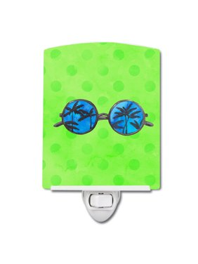 Sunglasses Green Polkadot Ceramic Night Light