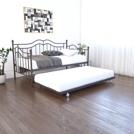 RealRooms Talia Twin Size Daybed and Twin Size Trundle, Bronze Metal