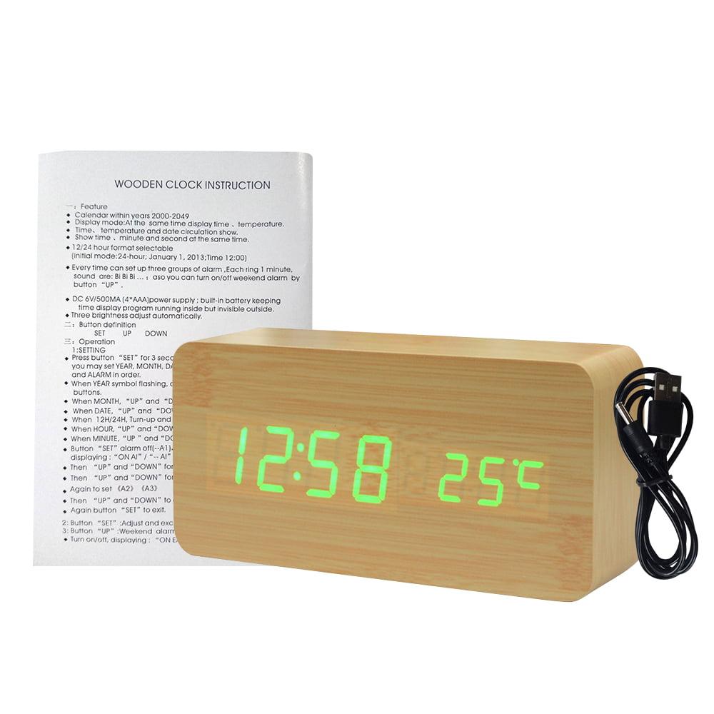 Wooden LED Display Temp Date Digital Alarm Clock Wood Sound Detect Control USB