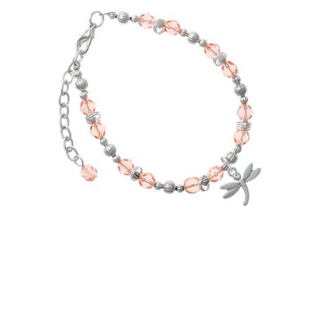 Silvertone Small Dragonfly with Crystal Pink Beaded Bracelet