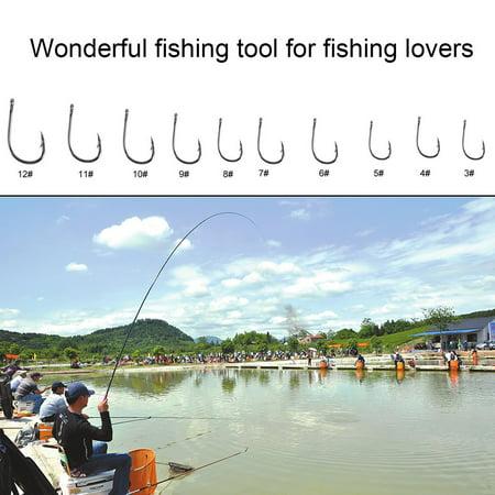 1 Set 100 Pcs 10 Sizes 3# - 12# Black Silver Fishing Hooks With Carry Box - image 2 of 13
