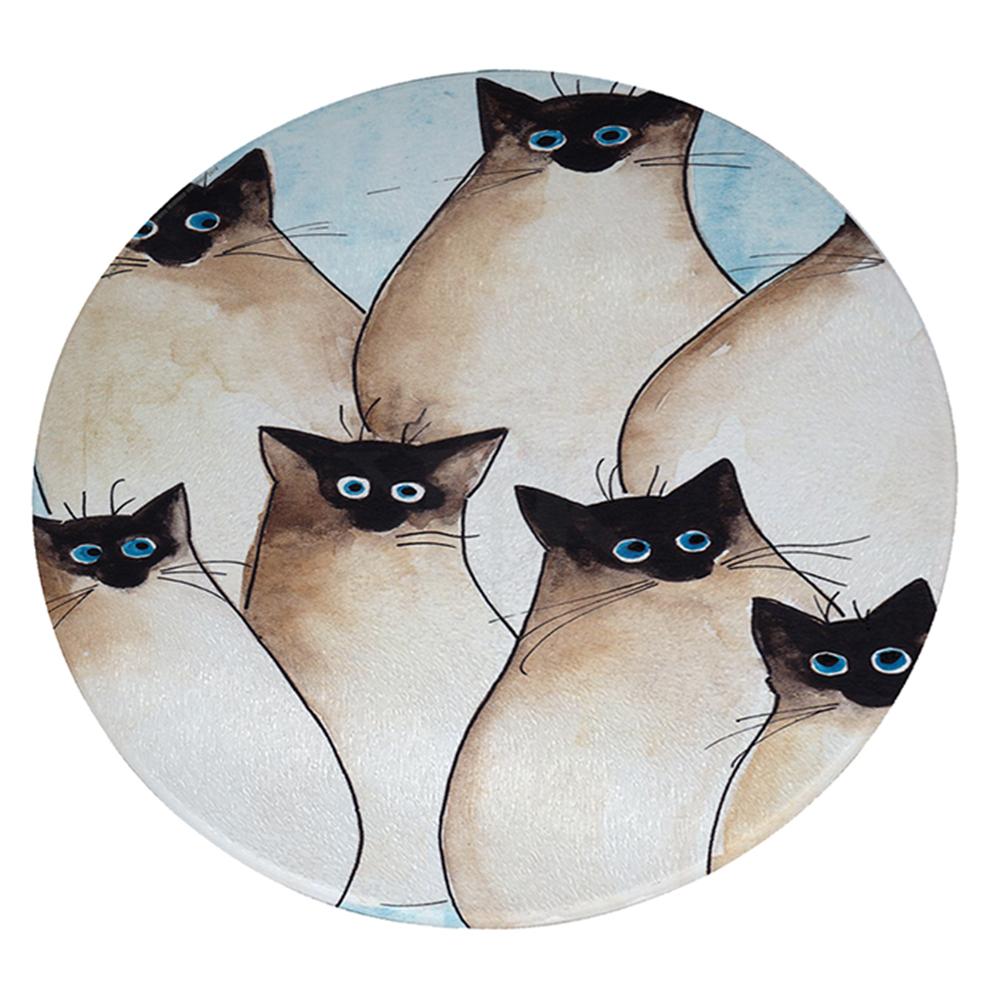 "KuzmarK 12"" Round Glass Cutting Board - Seven Silly Siamese Kitties Art by Denise Every"