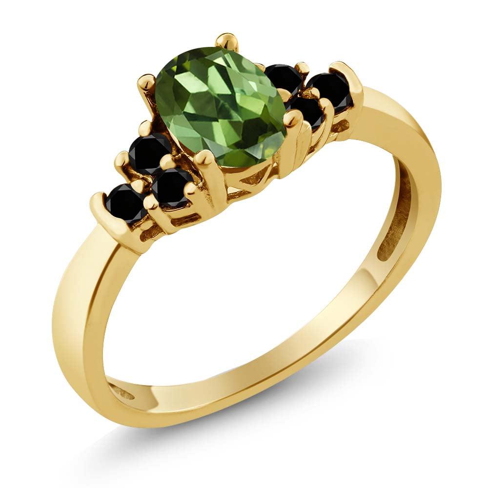 0.76 Ct Oval Green Tourmaline Black Diamond 18K Yellow Gold Ring by
