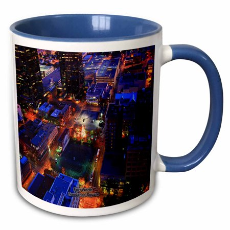 3dRose Fort Worth Sundance Square - Two Tone Blue Mug, - 11 Oz Two Tone Mug