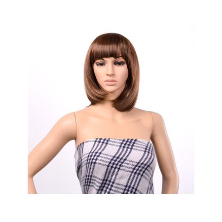 BOB Style Wig Short Straight Bang Hair Full Wigs Hair for Cosplay Disco Party Light Brown