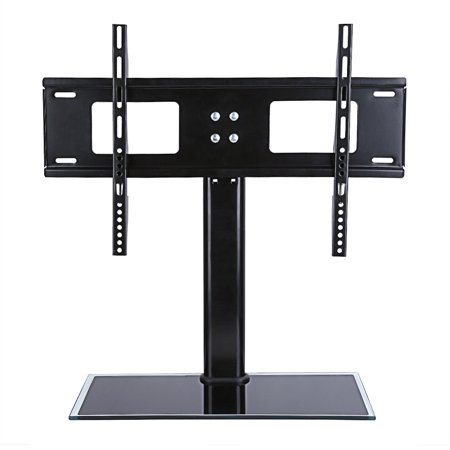 Qiilu Universal Tabletop TV Stand with Mount for 27 32 37 40 42 43 47 50 55 inch LED,LCD and Plasma Flat Screen TVs with Height Adjustment (50 Inch Flat Screen Stand)