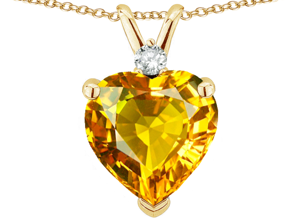 Star K 8mm Genuine Citrine Heart Pendant Necklace in 14 kt Yellow Gold by
