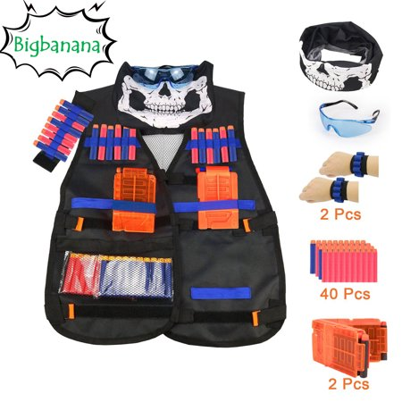 Kids Tactical Vest Kit for Boys, Children Elite Tactical Vest Kit For Nerf N-strike Elite Series with Quick Reload Clips + Hand Wrist Band + Protective Glass+Tactical Mask+40 Refill Bullet Soft