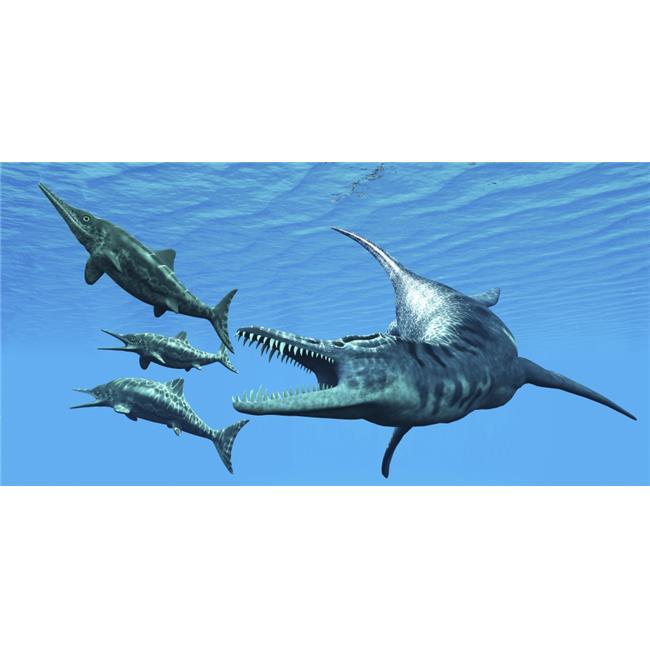 StockTrek Images PSTCFR200231P Liopleurodon Reptile Hunting Ichthyosaurus Dinosaurs in Jurassic Seas Poster Print, 20 x 10 - image 1 de 1