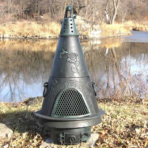 Outdoor Chiminea Fireplace Garden in Antique Green Finish (Gas Fueled) by The Blue Rooster