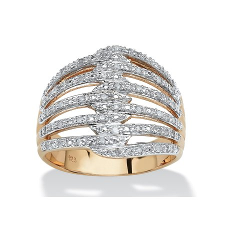 Diamond Domed Designer Ring - 1/5 TCW Diamond 18k Gold over Sterling Silver Open Dome Ring
