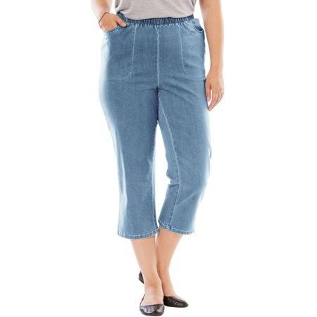 Woman Within Plus Size Petite Capri Fineline Jean