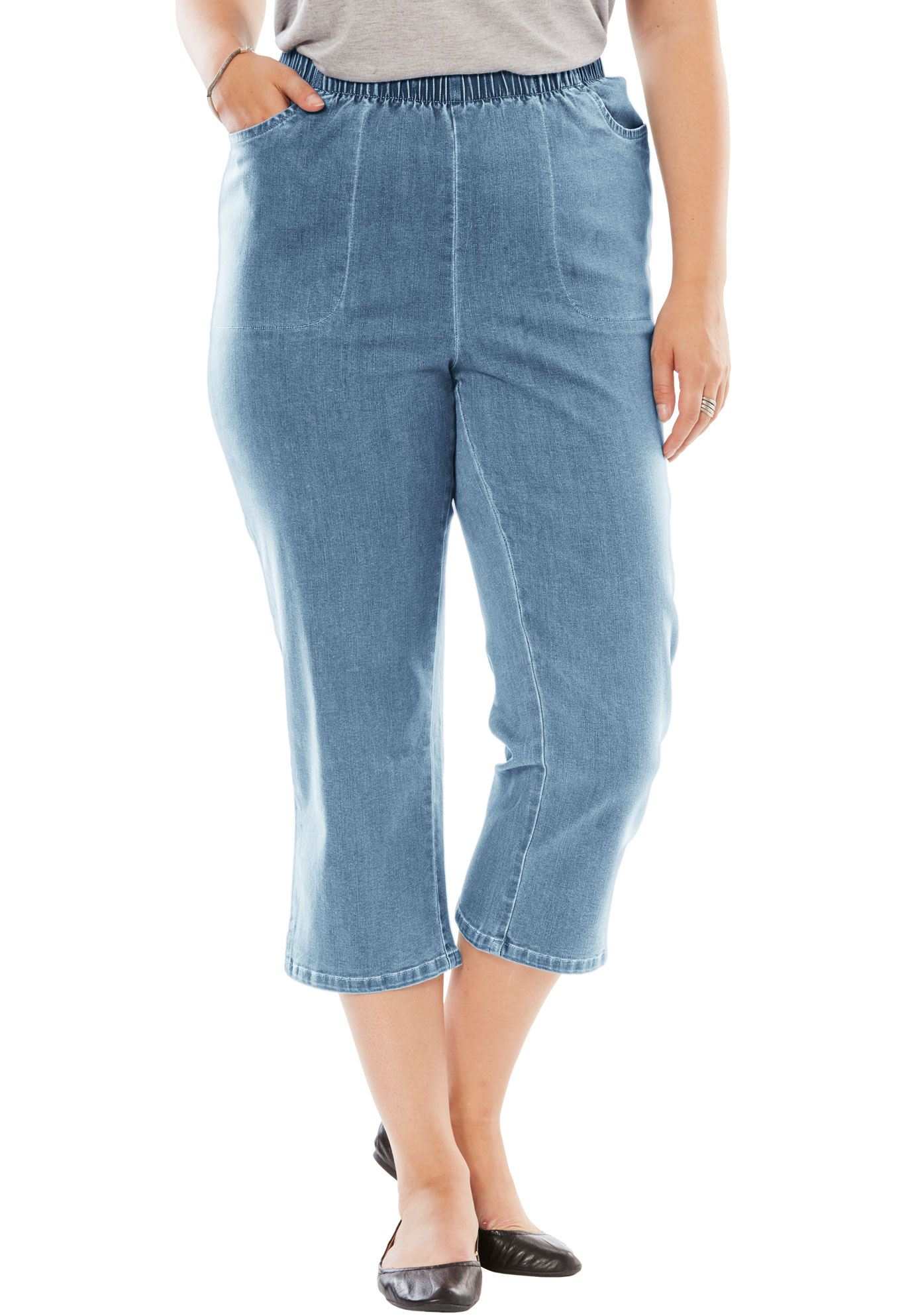 Woman Within Plus Size Petite Capri Fineline Jean