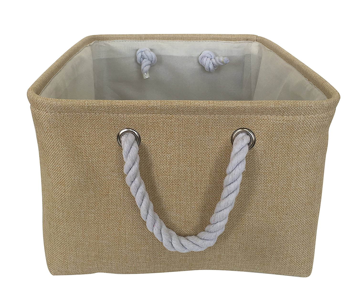 Rectangle Fabric Bin Storage Basket With Rope Handles For Clothes Storage ,Laundry,Toy Organizer