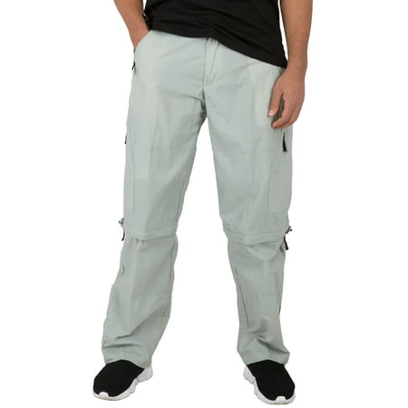 vibes mens convertible cargo pocket silver grey nylon pull on pants with (Mens Nylon Pant)