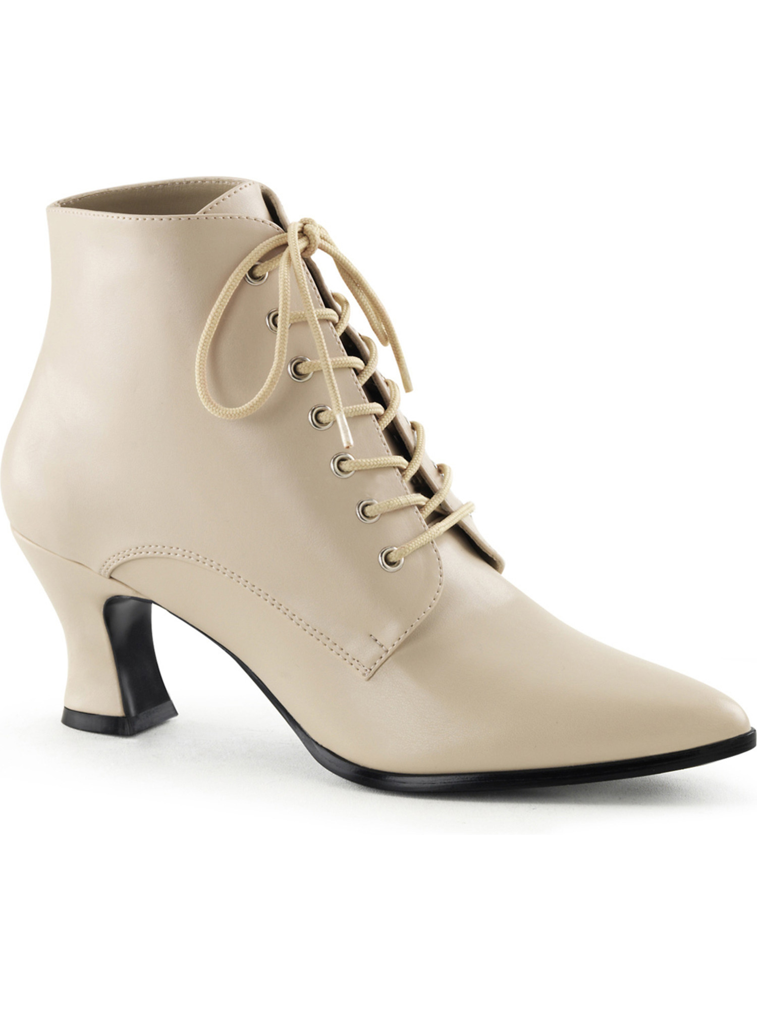 Womens Cream Lace Up Ankle Booties with 2 3/4 Inch Heels Costume Shoes