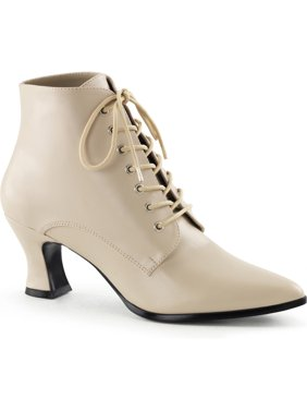 f0a0e41ed Product Image Womens Cream Lace Up Ankle Booties with 2 3/4 Inch Heels  Costume Shoes