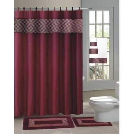 Fresco Collection (13PC  FRESCO BURGUNDY  Hotel Desing Collection  Bathroom Shower Curtain With 12 Cover Hooks )