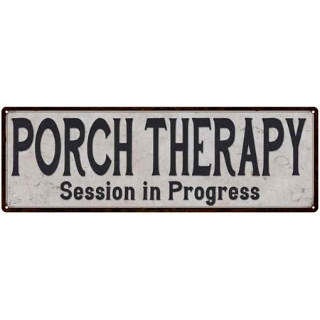 Porch Therapy Vintage Look Reproduction Black White 8x24 Metal Sign 206180023039