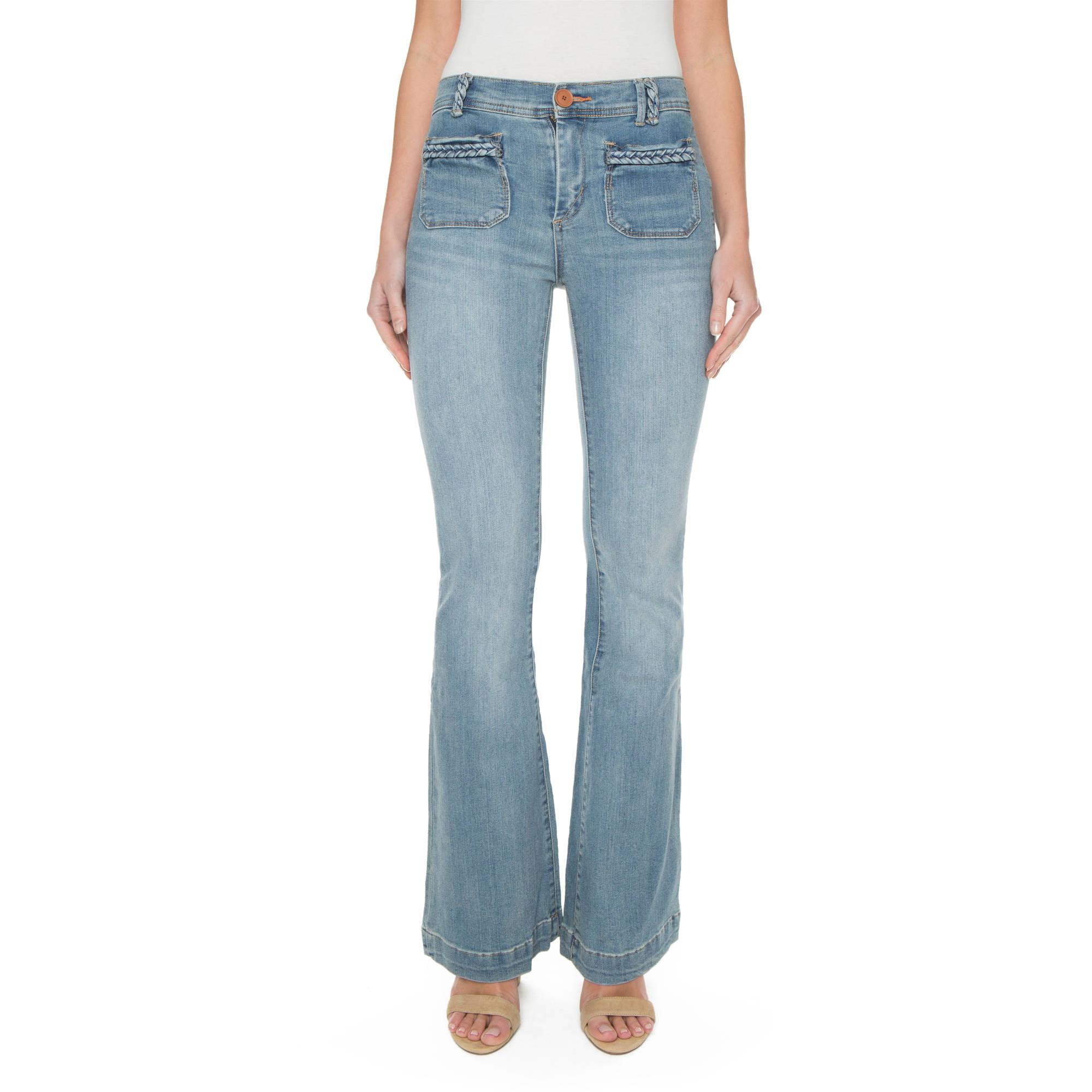 s Juniors\' Joanna High-Rise Super Soft Braided Pocket Flare Jean ...