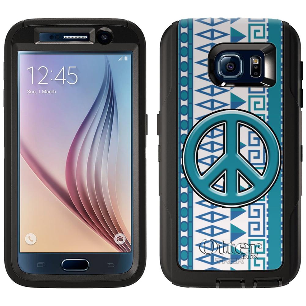 OtterBox Defender Samsung Galaxy S6 Case - Peace on Aztec Vertical Blue Aqua on White OtterBox Case