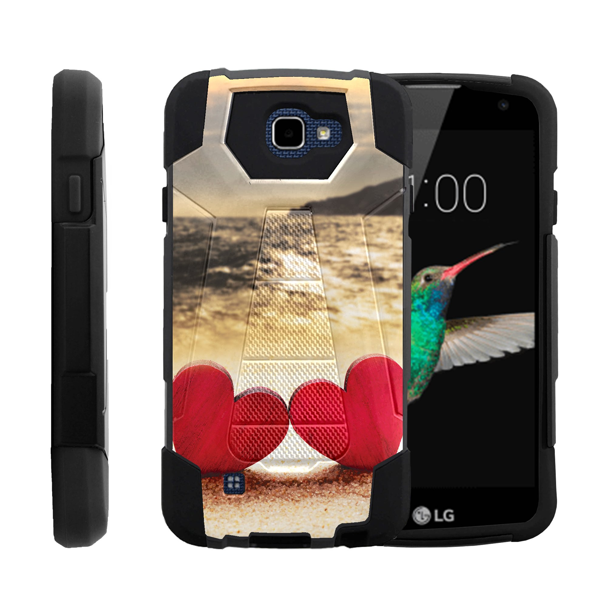 TurtleArmor ®   For LG K4   LG Optimus Zone 3   LG Spree   LG Rebel [Dynamic Shell] Dual Layer Hybrid Silicone Hard Shell Kickstand Case - Beach Shore