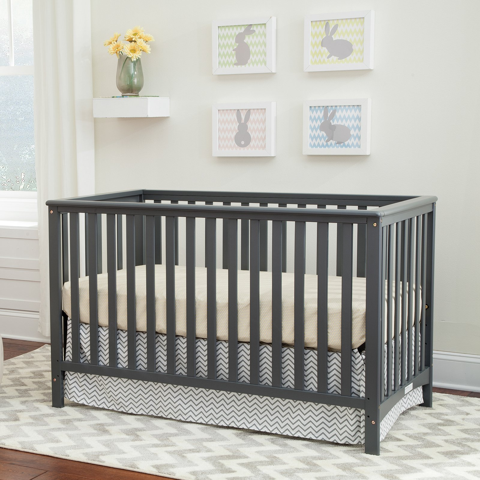 Storkcraft Hillcrest 4 In 1 Convertible Crib Gray   Walmart.com