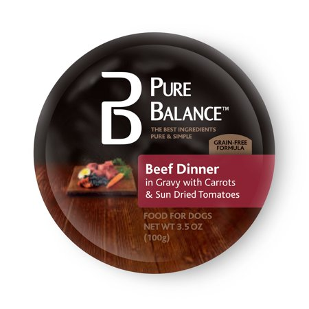 (12 Pack) Pure Balance Beef Dinner in Gravy with Carrots & Sun Dried Tomatoes Wet Dog Food, 3.5 oz