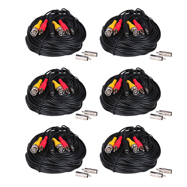 VideoSecu 6x 150ft HD Video Audio Power Cables BNC RCA Wires for AHD HD-CVI HD-TVI Security Camera CCTV Surveillance with Bonus Adapters WUW