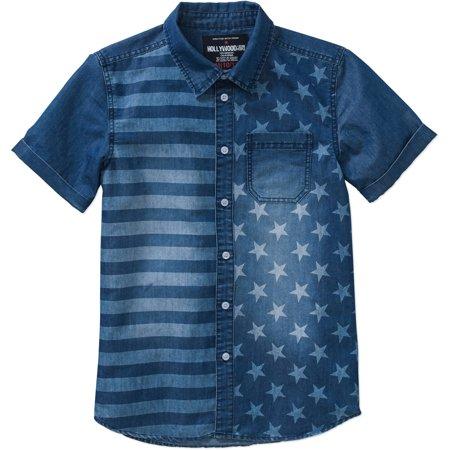 Boys' Short Sleeve American Flag Printed Denim Button-Down Shirt ...