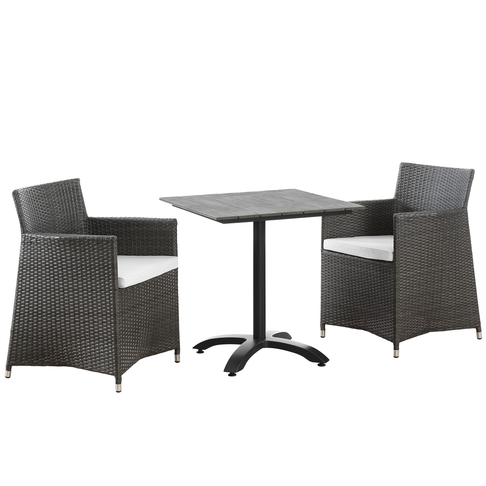 Modern Urban Contemporary 3 pcs Outdoor Patio Dining Room Set, Brown White Plastic by