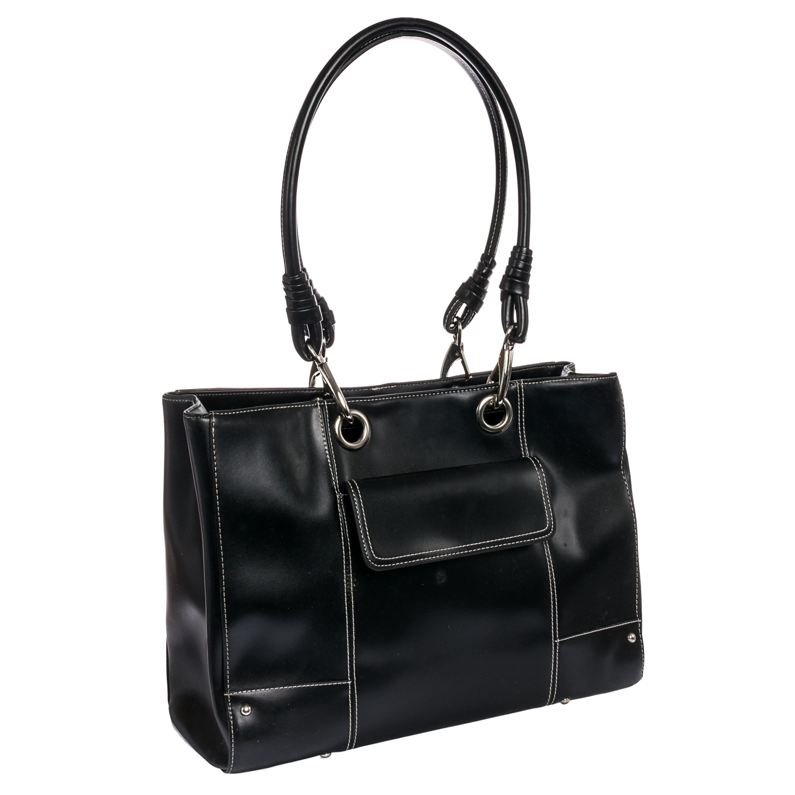Mcklein Black Ultra Smooth High Gloss Faux Leather Serena Laptop Tote Hand Bag
