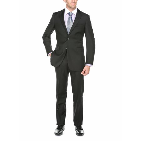 Verno Men's Black 100% Wool Notched Lapel Classic Fit Suit