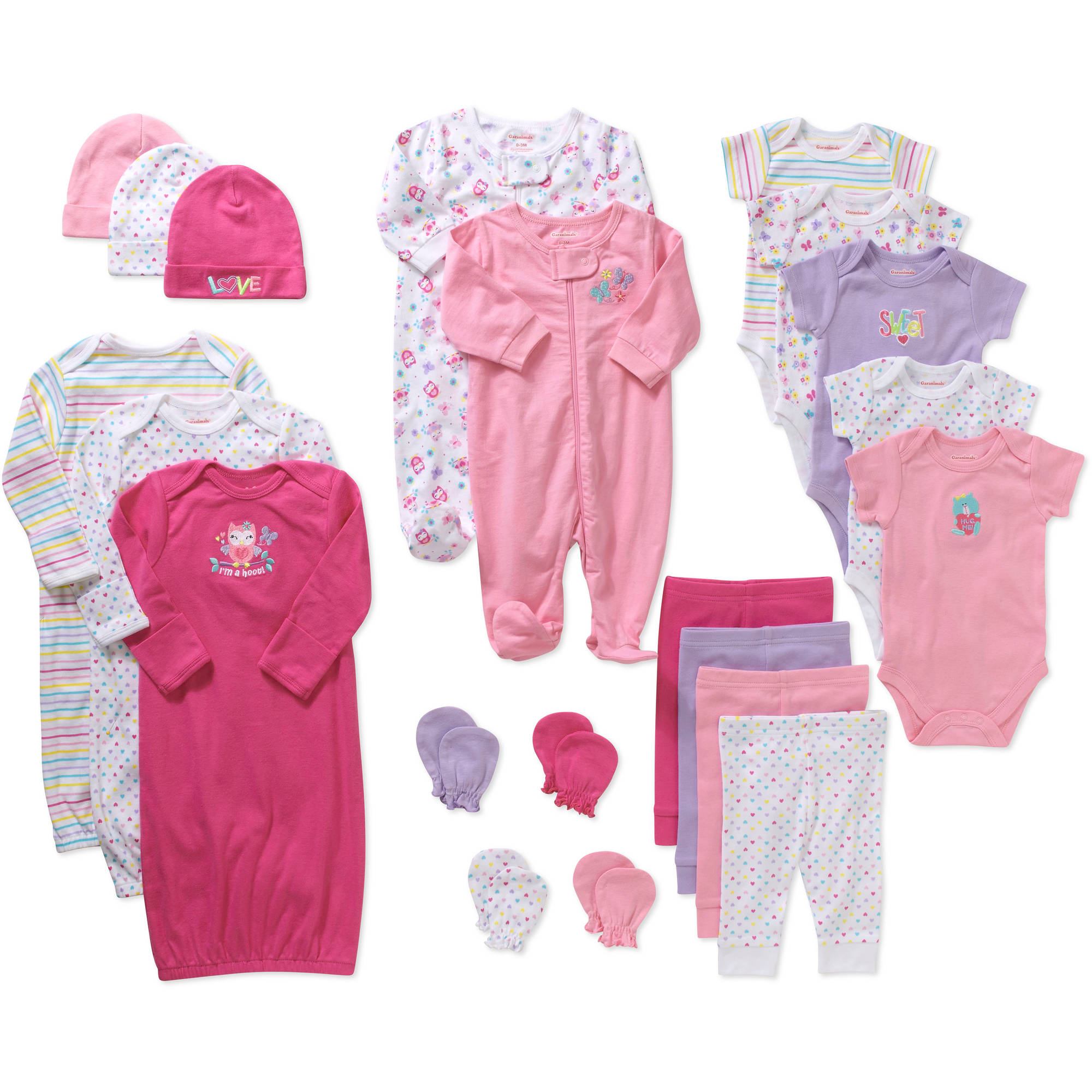 Garanimals Baby Girl 21 Piece Layette Baby Shower Gift Set