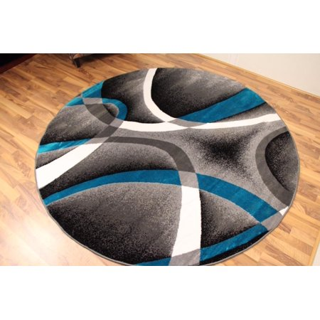 Persian Rugs 2305 Turquoise 6 Foot Round Modern Abstract Area Rug