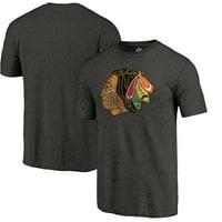 Chicago Blackhawks Distressed Throwback Primary Logo Tri-Blend T-Shirt - Black -