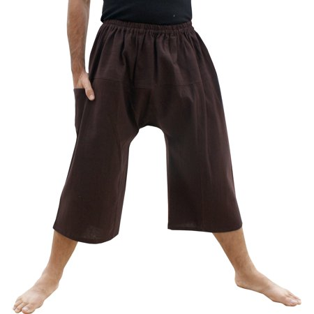 Raan Pah Muang Brand Thailand Sadaw Baggy 3/4 Leg Peasants Pants Warm Cotton Dark Liver Brown Medium