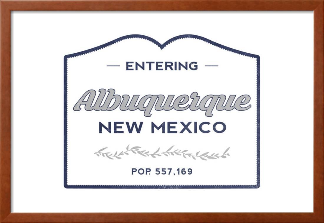 Albuquerque, New Mexico - Now Entering (Blue) Framed Print Wall Art ...