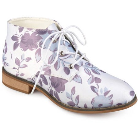 Crinkle Leather Heels - Brinley Co. Womens Faux Leather Stacked Wood Heel Lace-up Print Booties