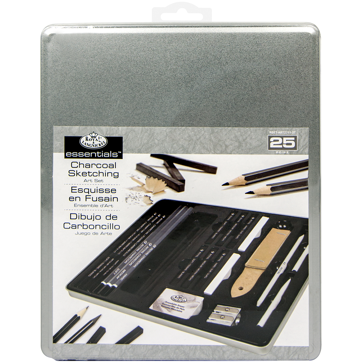 essentials(TM) Medium Charcoal Art Set W/Tin-