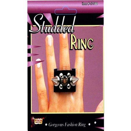 Black Womens Mens Spike Studded Stud Ring Goth Biker Punk Costume Accessory NEW