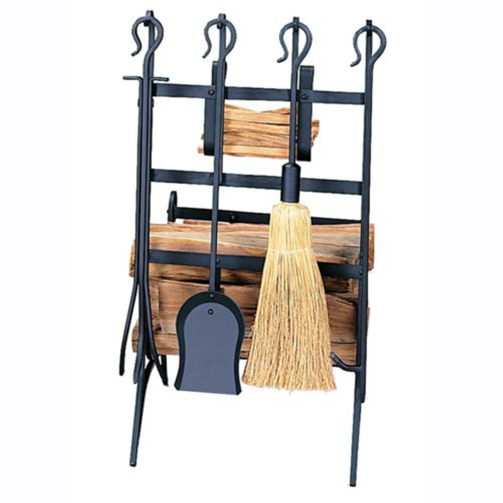 Uniflame Port Hook Handle Fireplace Tool Set and Log Rack