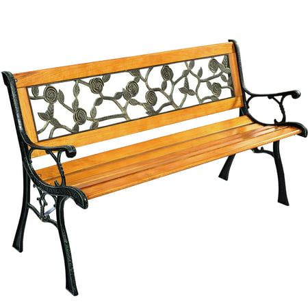 Garden Bench Patio Porch Chair Deck Hardwood Cast Iron Love Seat W512 ()