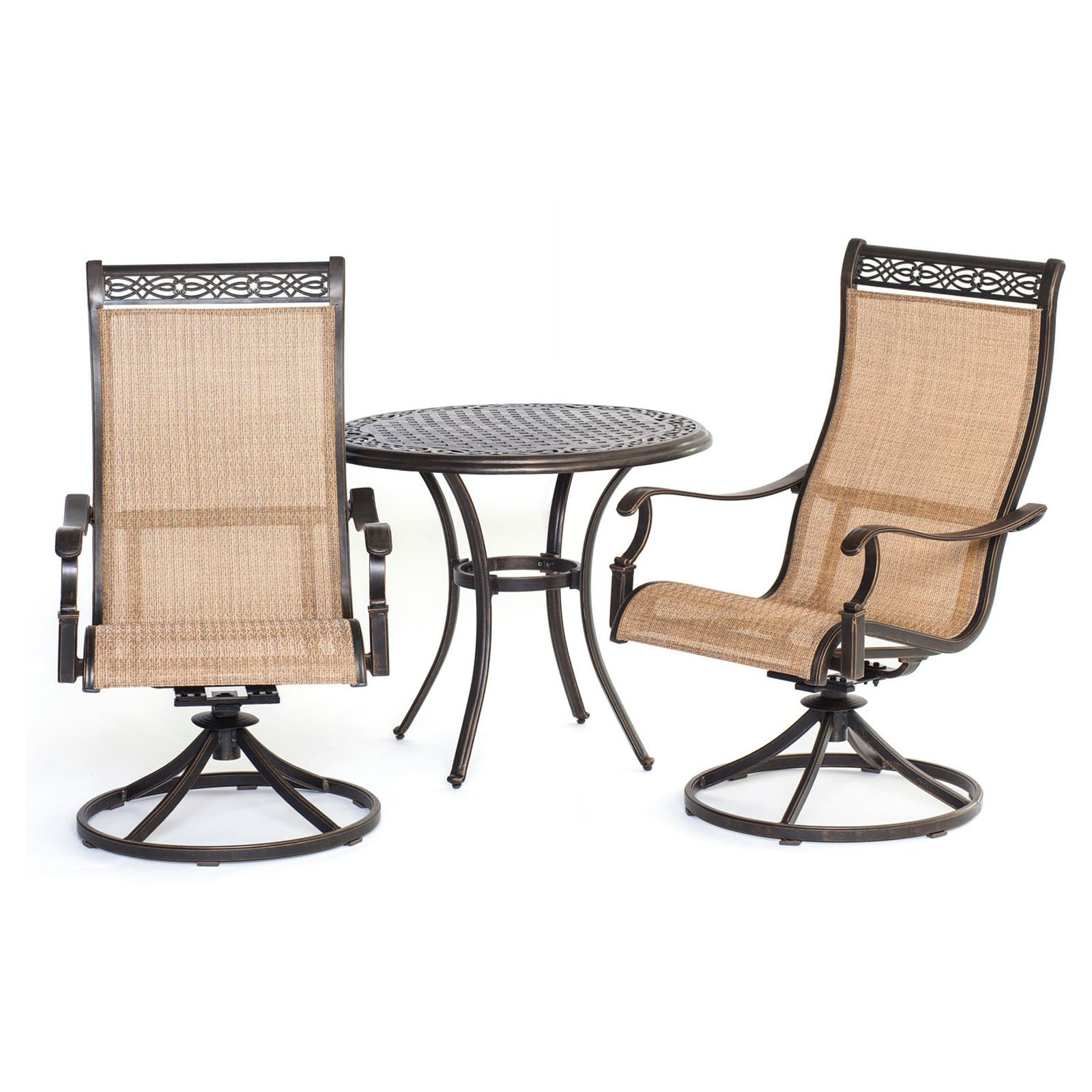 Hanover Outdoor Manor 3-Piece Bistro Set, Cedar/Bronze