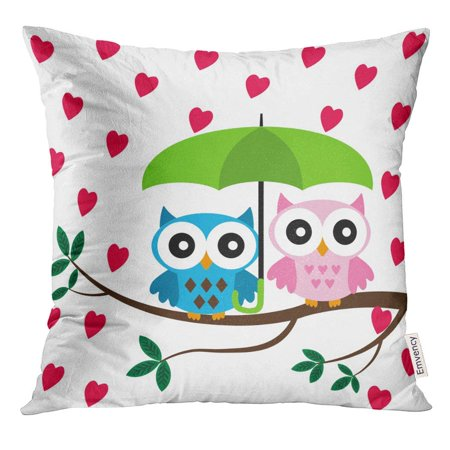 CMFUN Cute Two Owls Sitting on The Branch with Green Umbrella Under Hearts Rain Birds Pillow Case 18x18 Inches Pillowcase